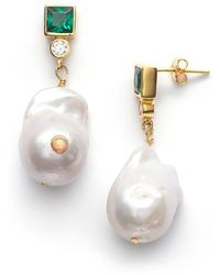 Anni Lu Baroque Pearl Bling Earrings Posy Green - Métallisé