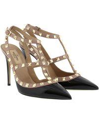 Valentino Rockstud Ankle Strap Nero/Poudre - Noir