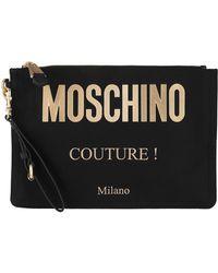 Moschino Pochette zippée à logo embossé - Noir