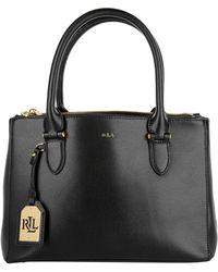 22565ed1953 Lauren by Ralph Lauren - Newbury Double Zipper Shopper Black Gold - Lyst