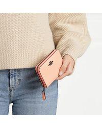 COACH Crossgrain Leather Small Zip Around Wallet - Naturel