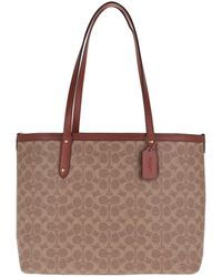COACH Coated Canvas Central Tote Zip Tan Rust - Marron
