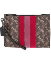 COACH - Canvas Varsity Stripe Charlie Pouch Brown - Lyst