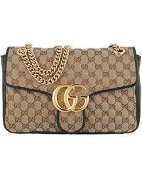 Gucci GG Marmont Satchel Bag Matelassé Beige/black - Natural