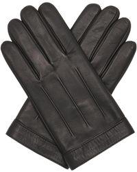 Tommy Hilfiger Logo Embossed Leather Gloves Black - Schwarz