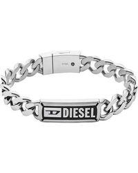 DIESEL Stainless Steel Chain ID Bracelet - Métallisé