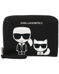Karl Lagerfeld K/Ikonik Sm Folded Zip Wallet - Noir