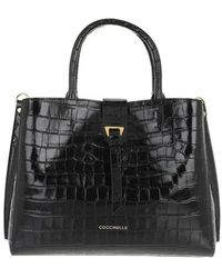 Coccinelle Alba Croco Shiny Soft Satchel Bag - Black
