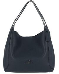 COACH Polished Pebble Leather Hadley Hobo - Bleu
