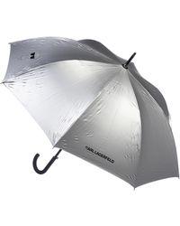 Karl Lagerfeld K/Ikonik Metallic Umbrella Silver - Métallisé
