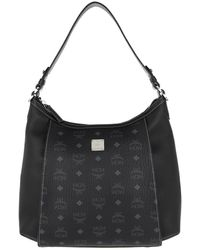 MCM Luisa Visetos Medium Hobo Bag Leather Black