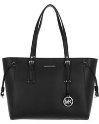 Michael Kors - Voyager Md Mf Tz Tote Silver Black - Lyst