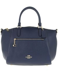 COACH Polished Pebble Leather Elise Satchel Midnight Navy - Blue