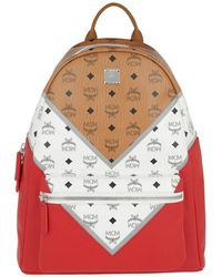 MCM - Stark M Move Visetos Backpack Cognac/white/red - Lyst