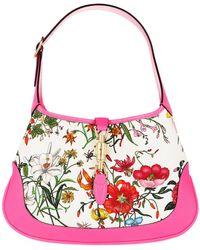 Gucci Jackie Hobo Mittelgroße Schultertasche Aus Canvas Mit Blumenprint Und Strukturiertem Leder - Pink