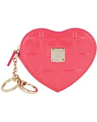 MCM Diamond Patent Heat Coin Wallet Tea Berry - Rose