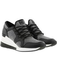 Michael Kors Liv Extreme Leather And Glitter Chain-mesh Trainer - Black