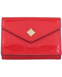 MCM Metallic Patent New Mini Card Wal Red - Rouge