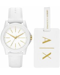 Armani Exchange Ladies Silicone Watch and Luggage Tag Gift Set - Blanc