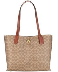 COACH Coated Canvas Signature Willow Tote - Braun