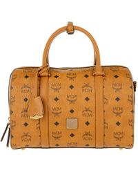 MCM - Signature Visetos Original Boston Medium Cognac - Lyst