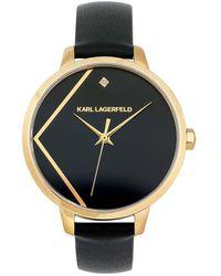 Karl Lagerfeld - Klassic K Leather Strap Black/gold - Lyst