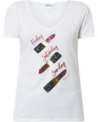Liu Jo T-Shirt mit Pailletten - Weiß