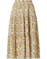 Lolly's Laundry Midirock mit floralem Muster Modell 'Morning' - Gelb