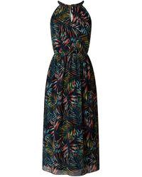 Apricot Kleid aus Chiffon mit Blättermuster - Blau