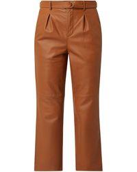Goosecraft Bundfaltenhose aus Leder Modell 'Benedict' - Braun