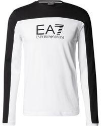 EA7 Longsleeve aus Baumwolle mit Label-Streifen - Weiß