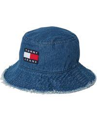 Tommy Hilfiger Bucket Hat aus Baumwoll-Mix in Jeans-Optik - Blau