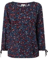 s.Oliver RED LABEL Blusenshirt mit Allover-Muster - Blau