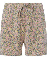 Jake*s Casual Pyjamashorts mit floralem Muster - Gelb