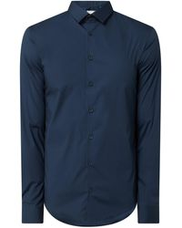Casual Friday Slim Fit Freizeithemd mit Stretch-Anteil - Blau