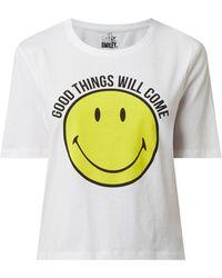 ONLY T-Shirt aus Bio-Baumwolle Modell 'Smiley' - Weiß