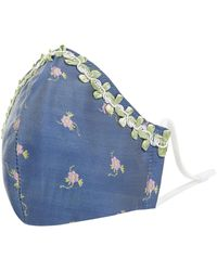 Luxuar Mond-neusmasker Met Bloemenborduursels - Blauw