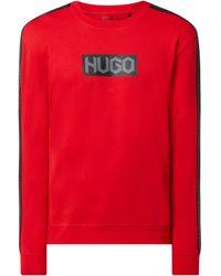 HUGO Sweatshirt aus Baumwolle Modell 'Dubeshi' - Rot