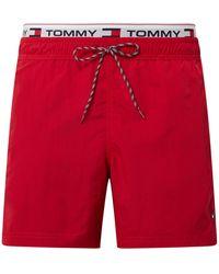 Tommy Hilfiger Regular Fit Badehose mit Logo-Bund - Rot
