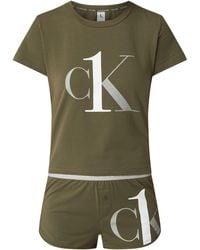 Calvin Klein - Pyjama aus Baumwoll-Elasthan-Mix - Lyst