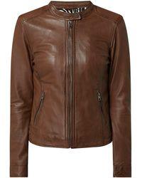Oakwood Lederjacke mit Reißverschlusstaschen Modell 'Karine' - Braun