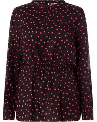 Only Carmakoma PLUS SIZE Blusenshirt mit Punktmuster Modell 'Carnia' - Rot