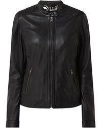 Oakwood Lederjacke mit Reißverschlusstaschen Modell 'Karine' - Schwarz
