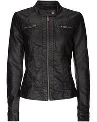 ONLY Jacke im authentischen Leder-Look - Schwarz