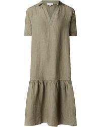 s.Oliver RED LABEL Oversized Leinenkleid mit Umlegekragen - Grün