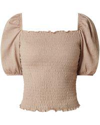 ONLY Cropped Blusenshirt mit Puffärmeln Modell 'Nalena' - gesmokt - Natur