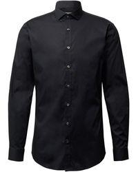 Tiger Of Sweden Slim Fit Business-Hemd mit Stretch-Anteil - Schwarz