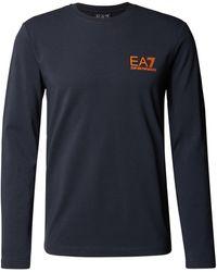 EA7 Longsleeve aus Baumwolle mit Label-Print - Blau
