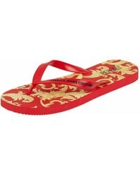 Versace Jeans Couture Zehentrenner mit Logo-Muster - Rot