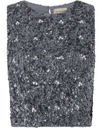 LACE & BEADS Crop Top mit Pailletten Modell 'Picasso' - Grau